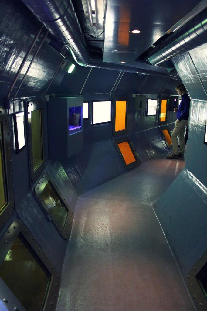 Szwecja, Karlskrona: Marinmuseum, podwodny tunel z widokiem na zatopione statki