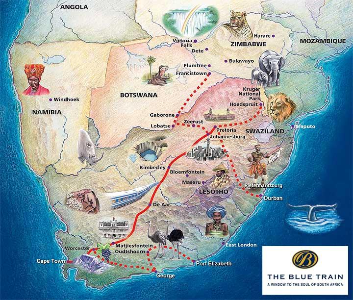 Blue Train - trasa pociągu; źródło zdjęcia: http://www.bluetrain.co.za/routes-map.html
