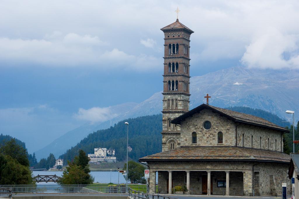 Szwajcaria: fikuśny kościół w Sankt Moritz