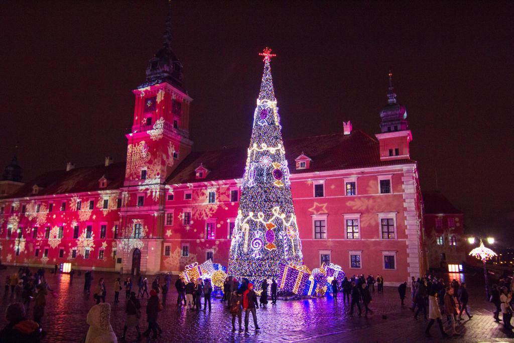 Warszawa: świąteczna choinka