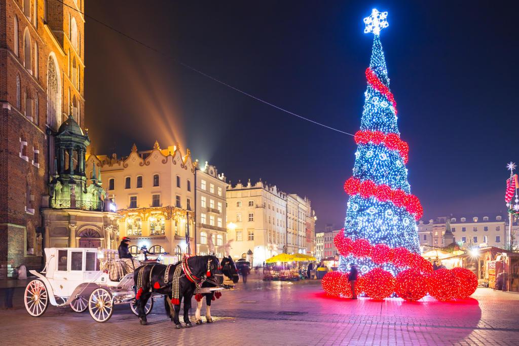 Świąteczny Kraków: choinka na Rynku Głównym